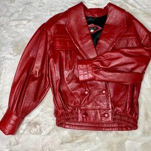 JULIAN K Vintage Red Leather Bomber Jacket-Med